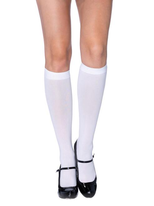 White Nylon Opaque Knee Highs