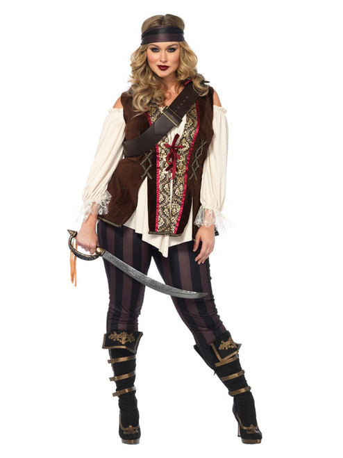 Womens Plus Size Full Figure Captain Blackheart Pirate Costume