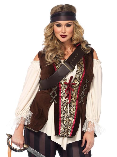 Plus Size Full Figure Captain Blackheart Pirate Costume Front View