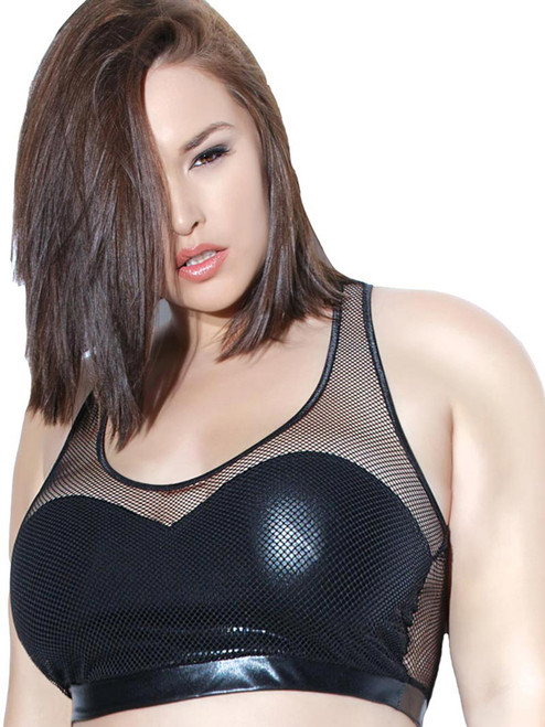 Faux Leather Liquid Wet Look Bra Top