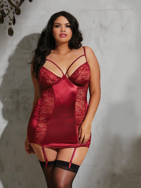 Elegant Plus Size Stretch Satin Strappy Underwire Garter Slip