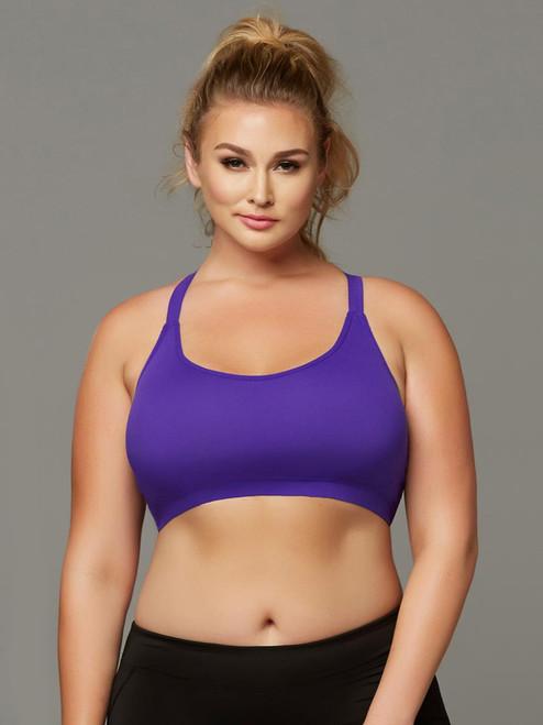 Women Plus Size Athletic Seamless Strappy Back Sports Bra Top