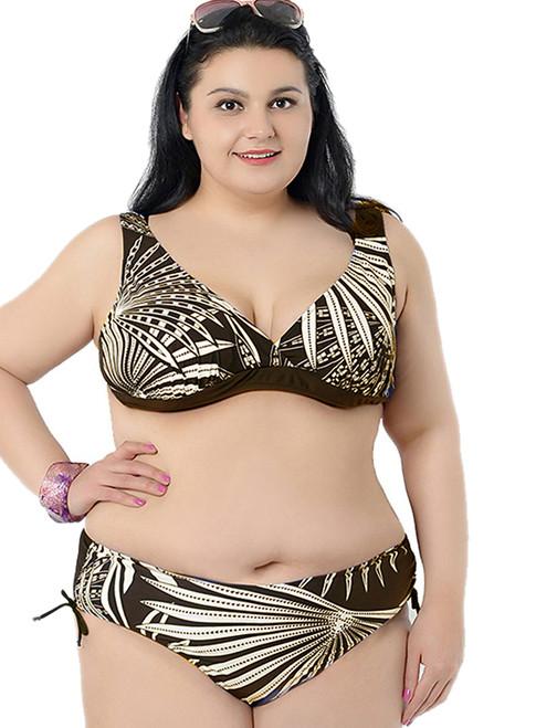 Printed Padded Push Up Adjustable Bikini Set Swimwear