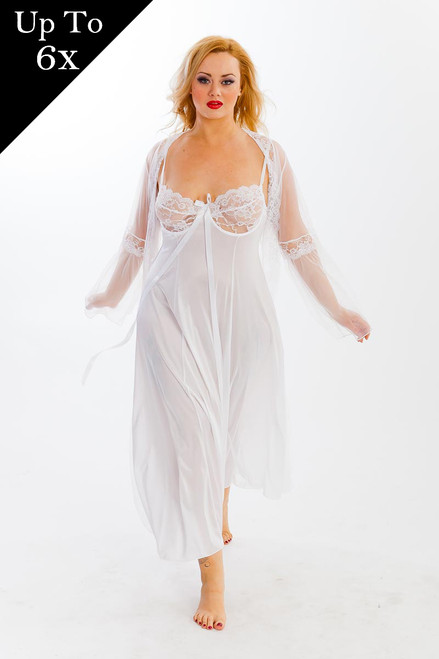 Plus Size Sexy Full Figure Long Bridal Gown Peignoir Lingerie Set
