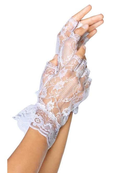 Women White Fingerless Wrist Length Lace Ruffle Gloves
