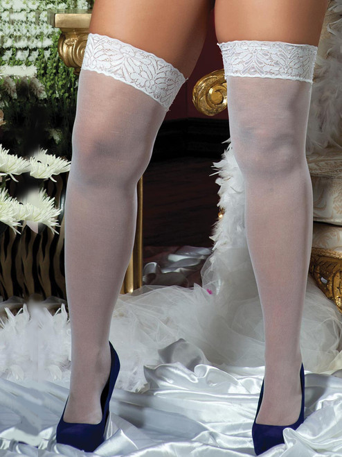 Plus Size Full Figure Sheer White Lace Top Thigh High Stockings