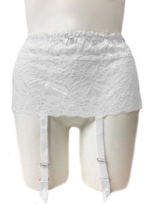 Plus Size Bridal White Floral Lace Nickel Free Adjustable Garterbelt Garter Belt for Stockings