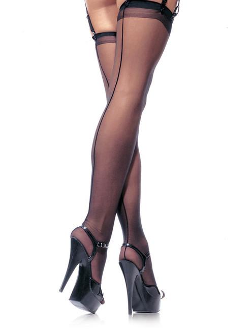 Plus Size Hosiery Sheer Back Seam Thigh High Stocking