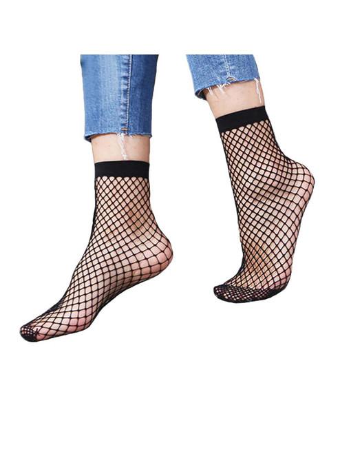 Women Plain Black Fashion Fishnet Ankle Socks- 1 Pair