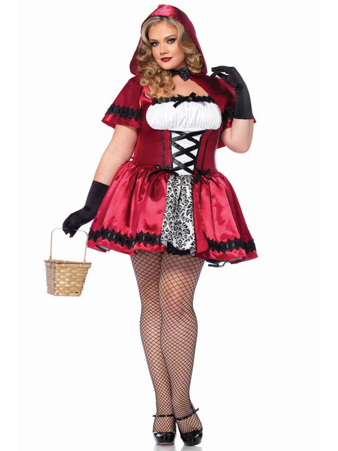 Womens Plus Size Full Figure Gothic Little Red Riding Hood Fairytale Costume