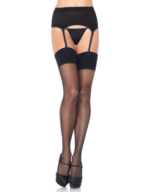 Full Figured Plus Size Hosiery Lingerie Garterbelt Suspender Belt & Stocking Set