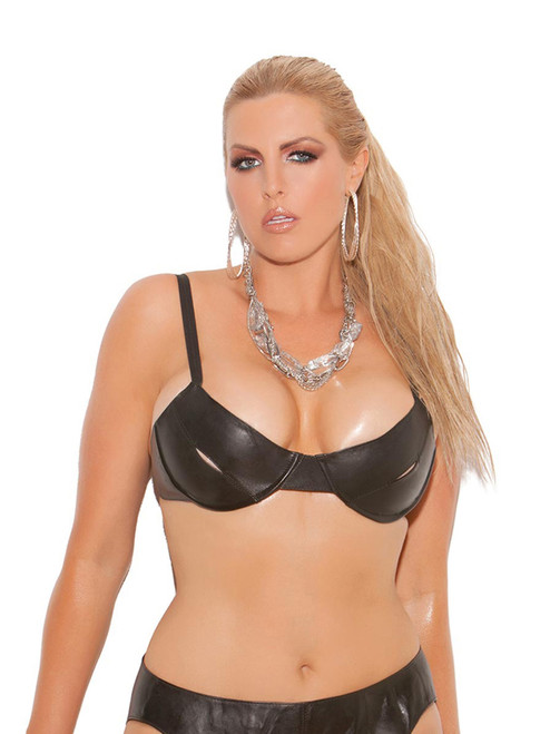 Leather Peek a Boo Bra
