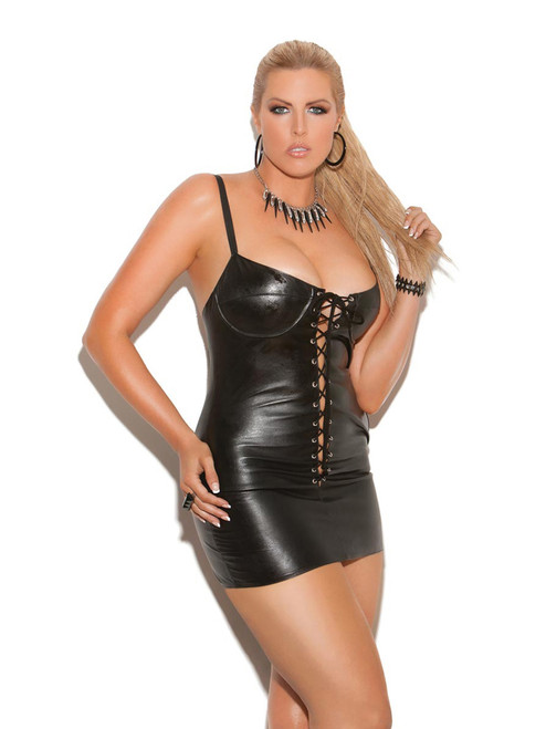 Lace Up Leather Dress