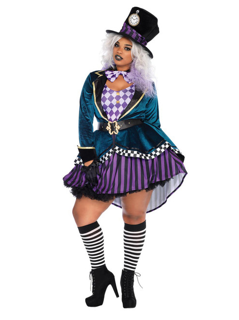 Womens Plus Size Sexy Delightful Mad Hatter Wonderland Roleplay Costume