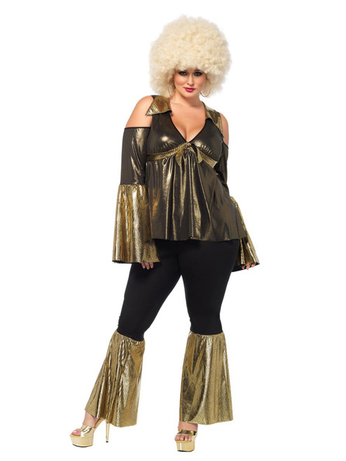 Plus Size Curvy Cold Shoulder Disco Queen Diva Costume