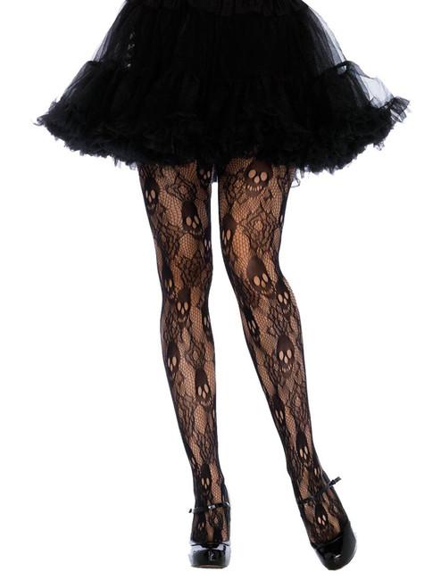 Plus Size Full Figure Black Rose Skull Lace Tights Pantyhose