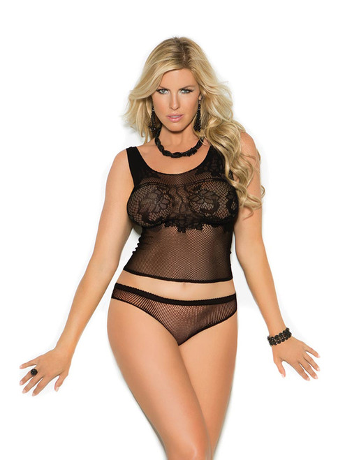 Plus Size Sexy Crochet Cami Top and Panty Lingerie Set