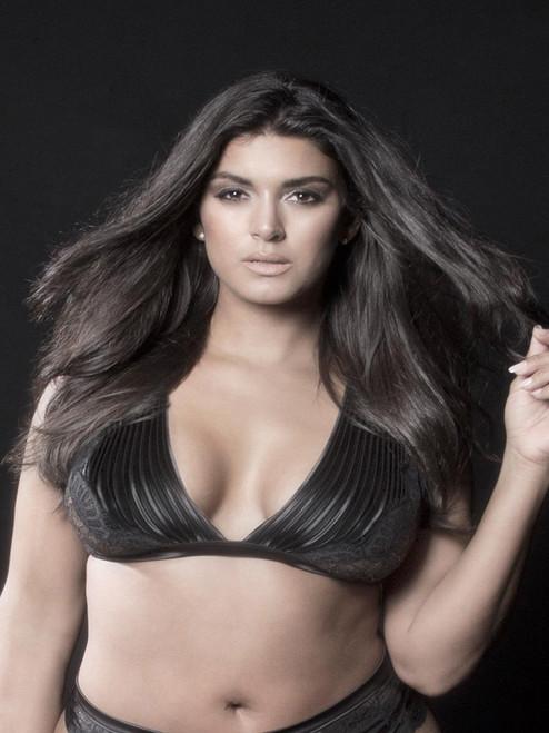 Plus Size Dramatic Plunge Back Soft Lace Pleated Satin Bra Bralette