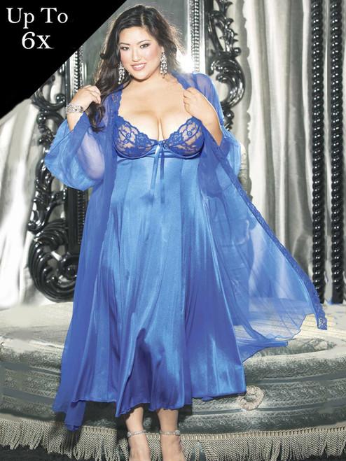Plus Size Blue Full Figure Long Gown Peignoir Lingerie Set