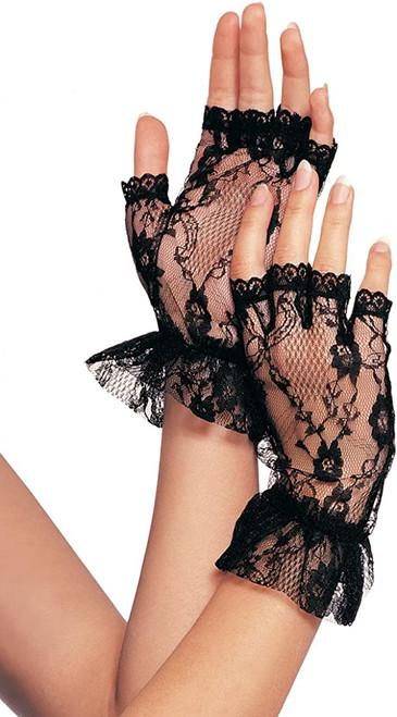 Womens Sexy Fingerless Wrist Length Black Lace Ruffle Gloves