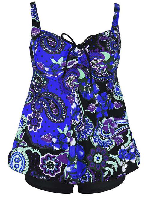 Plus Size Paisley Floral Print Tie Back Fashion Swimsuit Tankini Set