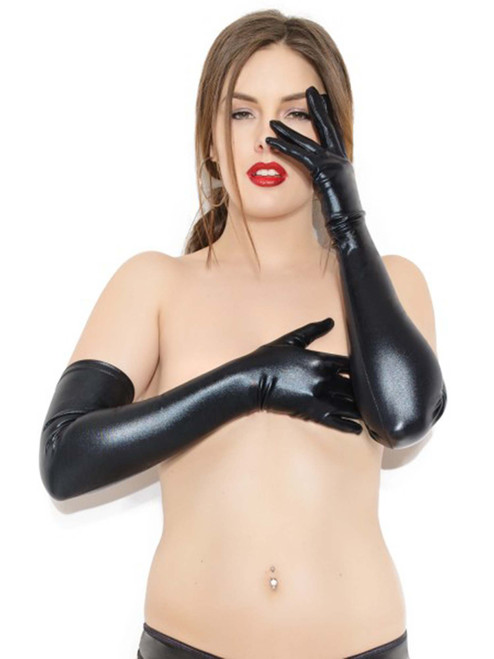 Womens Black Wet Look Elbow Length Shiny Black Gloves Front View