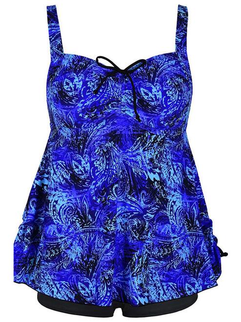 Plus Size Blue Swirl Fashion Print Tie Back Swimsuit Tankini Set
