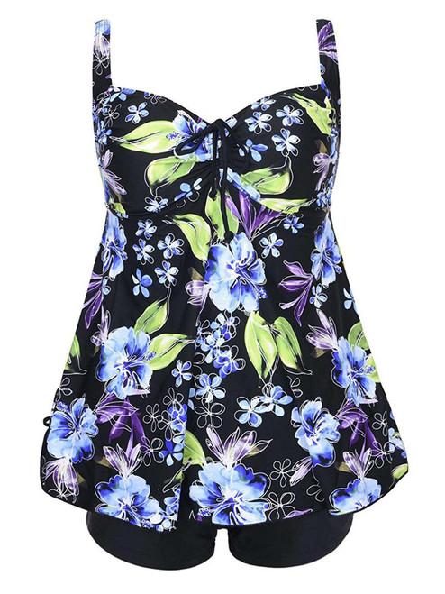 Plus Size Blue Floral Print Tie Back Fashion Cinch Swimsuit Tankini Set