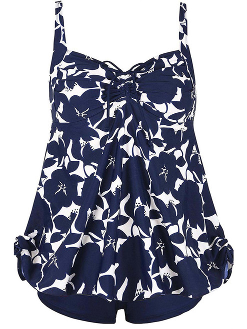 Plus Size Curvy Blue Floral Print Tie Back Cinch Fashion Swimsuit Tankini Set