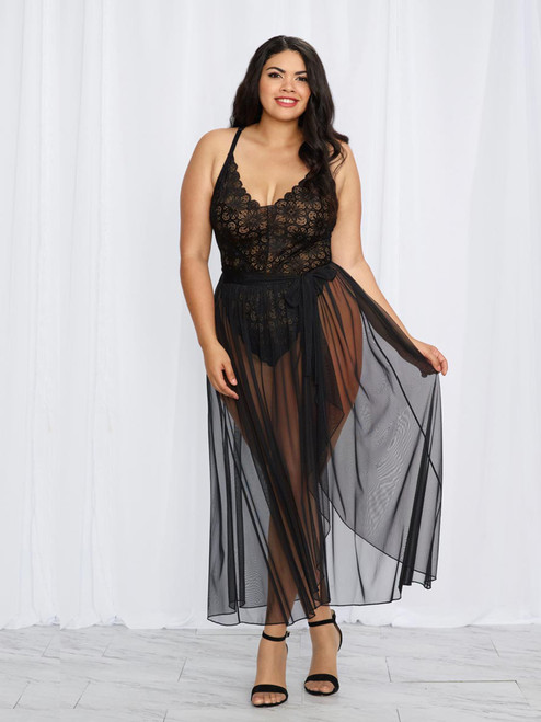 Black Plus Size Elegant Mosaic Stretch Lace Teddy and Sheer Maxi Skirt Lingerie