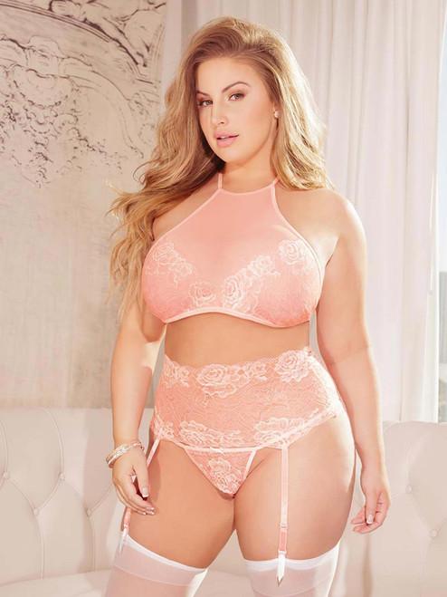 Womens Plus Size Halter Bra and Garter Belt Set Lace Lingerie Bra and Panty Set