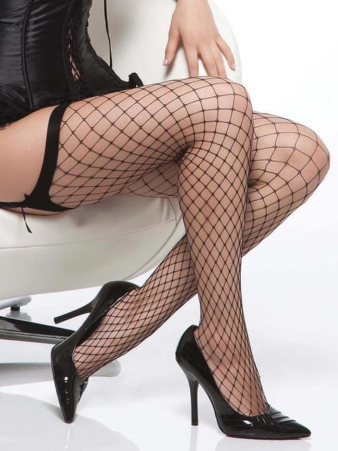 Womens Plus Size Diamond Net Fishnet Thigh High Stockings Hosiery