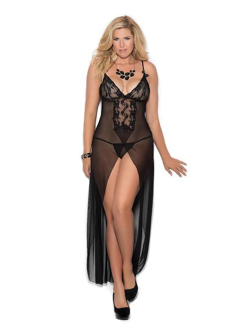 Womens Plus Size Classic Long Mesh Lace Panel High Front Slit Gown Lingerie