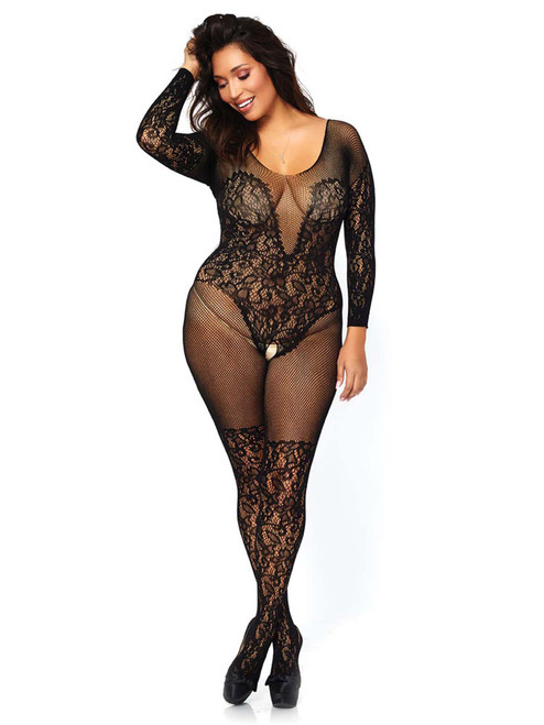 Womens Plus Size Sexy Vine Lace Fishnet Long Sleeved Net Bodystocking Lingerie