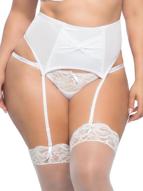 Women Plus Size Satin Lace Front Bridal Garterbelt Garter Belt Lingerie
