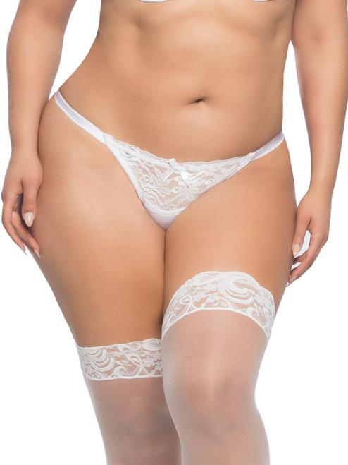 Women Plus Size Lace Open Back Bridal Tanga Underwear Panty