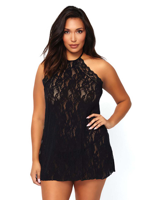 Women Plus Size Halter All Over Stretchy Floral Lace Chemise Slip Nightgown