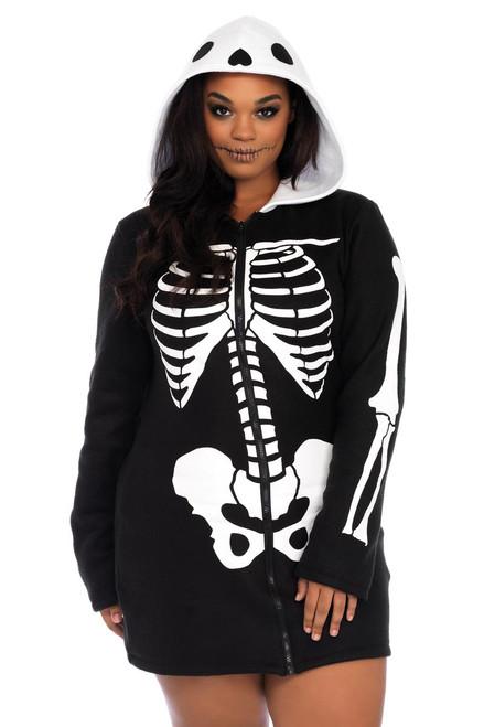 Womens Plus Size Full Figure Cozy Fleece Skeleton Dress Warm Halloween Costume