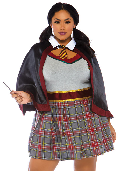 Womens Plus Size Spellbinding Sexy School Girl Costume Halloween Plaid Wizard Witch