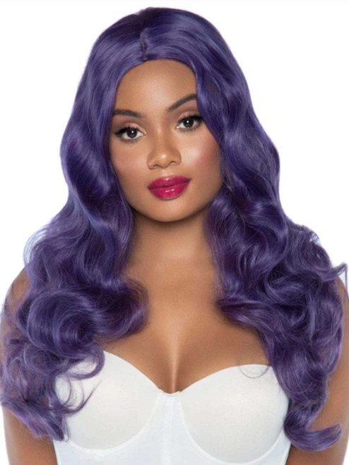 Mermaid Costume Wig Long Wavy Purple Wig Halloween Costume Accessory