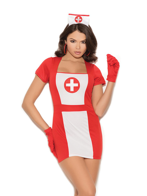 Womens Plus Size Naughty Vintage Nurse Halloween Roleplay Medical Costume
