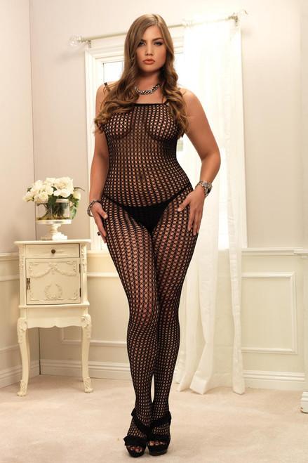 Womens Sexy Plus Size Seamless Crochet Net Bodystocking Lingerie