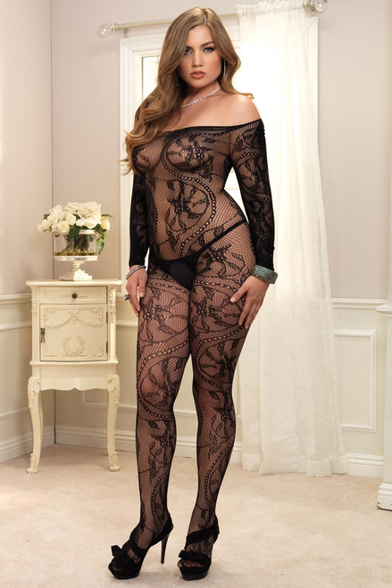 Womens Plus Size Spiral Lace Seamless Fishnet Off Shoulder Bodystocking Lingerie