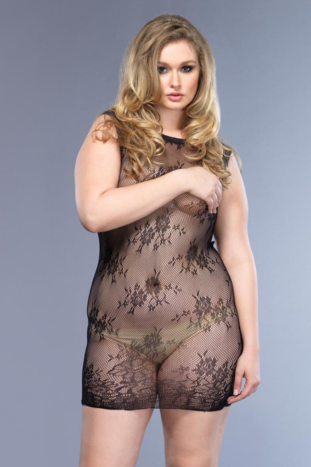 Womens Plus Size Sexy Stretch Floral Lace High Neck Black Mini Dress Lingerie