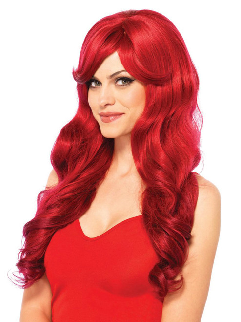 Womens Long Red Adjustable Natural Wavy Wig