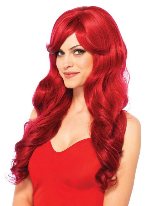 Womens Long Red Adjustable Natural Wavy Wig