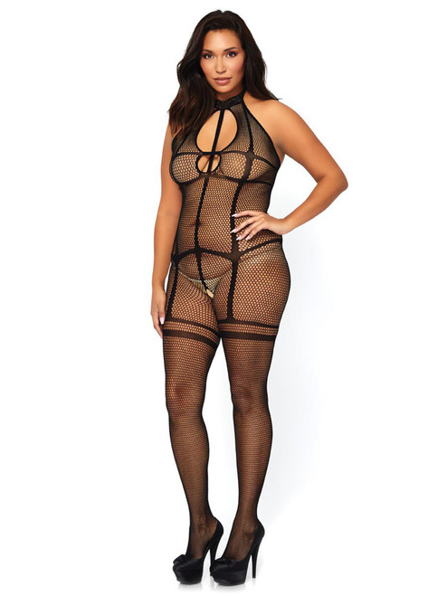 Womens Plus Size Sexy Halter Fishnet Bodystocking Crotchless Garter Illusion Lingerie