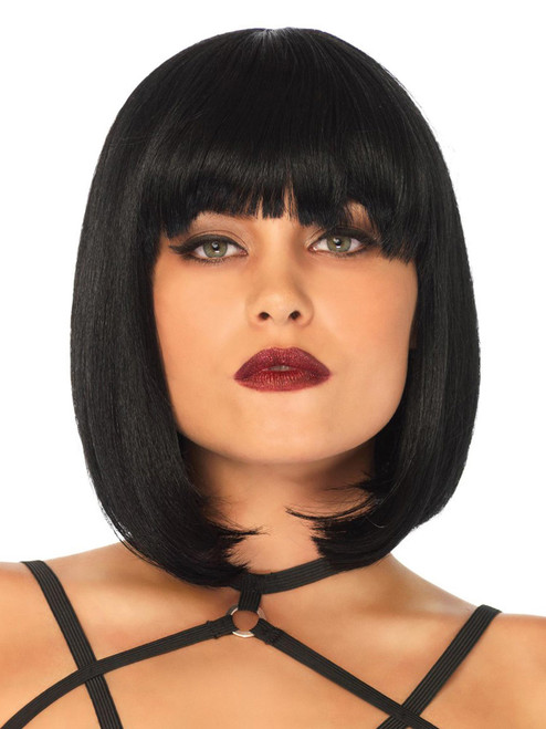 Womens Short Natural Black Bob Costume Wig