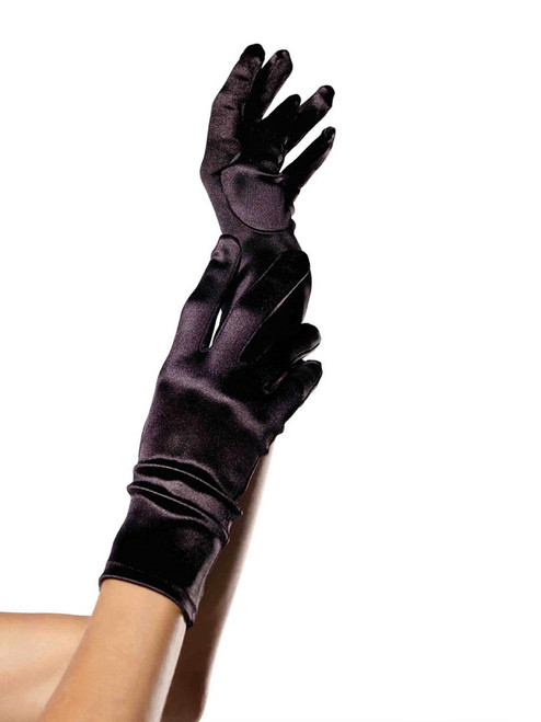 Womens Black Satin Short Wrist Length Gloves for Costumes Evening Wear