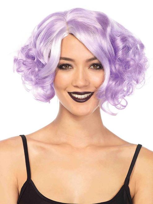 Womens Lavender Curly Short Bob Wig